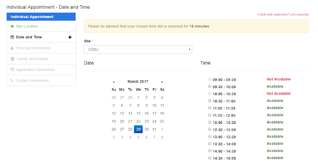 DFA step 3 - choose date and time