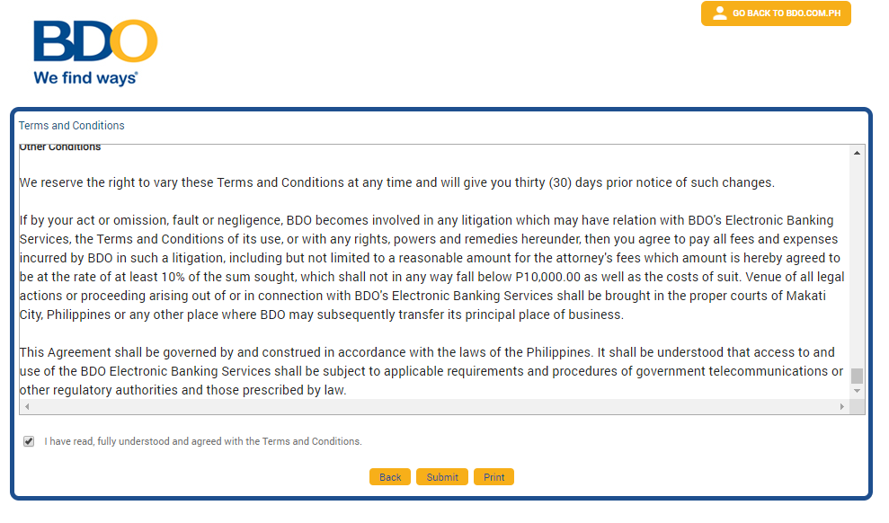 BDO online banking terms and conditions